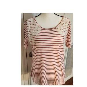 Ann Taylor Loft Red & White Stripes Cotton Tee M